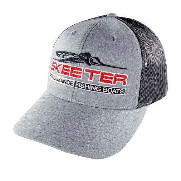 New Authentic Skeeter Hat Richardson Hat Gray/ Black Mesh/ Red Skeeter Logo