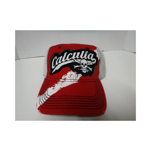 New Authentic Calcutta Hat Red Dive Flag/ White Mesh