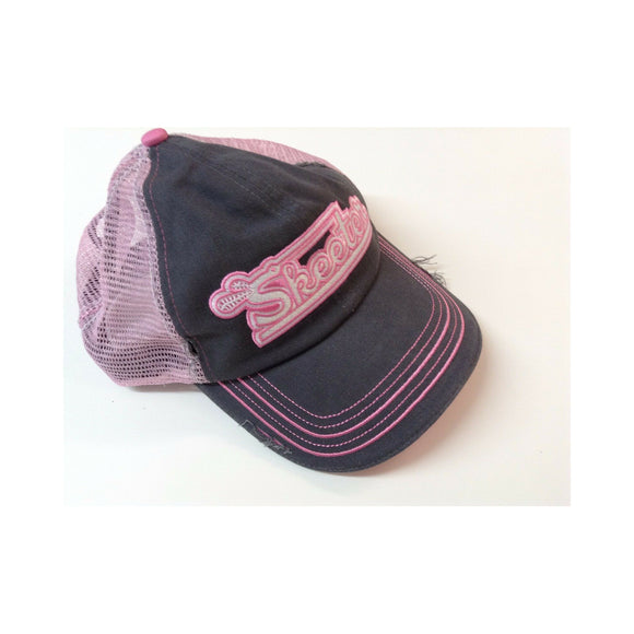 New Authentic Skeeter Distressed Hat Charcoal/ Contrast Stitch/ Ladies Chino Twill/ Back Pink Mesh