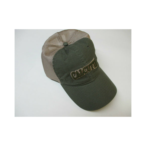 New Authentic Calcutta Hat Olive Green with Calcutta on Front Tan Mesh