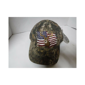 New Authentic RealTree Hat Adjustable/ Camo/ Deer over American Flag