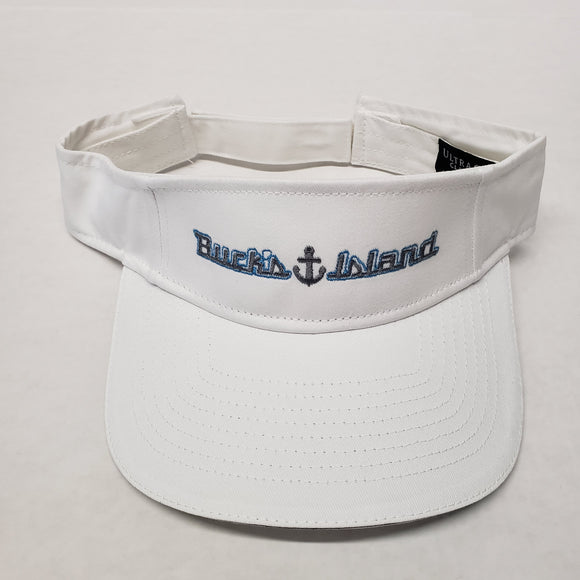 Buck's Island Brushed Cotton Twill Sandwich Visor/ White