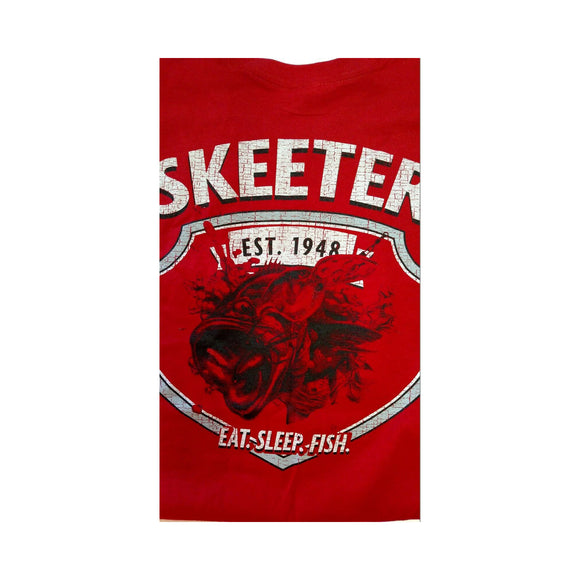 New Authentic Skeeter Short Sleeve T-Shirt Cherry Red/ Back Eat Sleep Fish Logo Medium