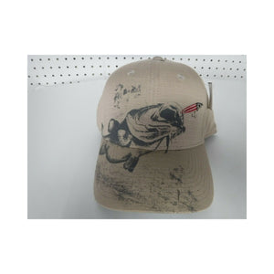 New Authentic Outdoor Cloth Hat Khaki/ Gray Bass Chasing Red Lure
