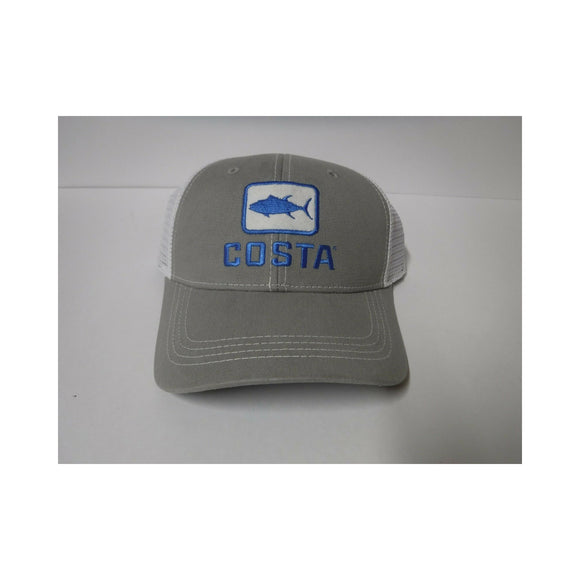 New Authentic Costa Hat Adjustable Trucker Gray with Tuna Logo/ Back White Mesh