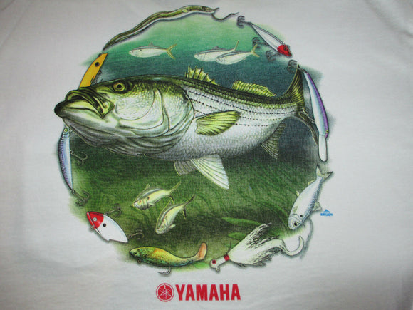 New Yamaha Short Sleeve T-shirt w/ Front Pocket w/ Yamaha Logo White with Striper Fish and Lures Large