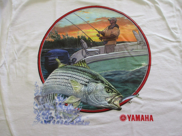 New Yamaha Short Sleeve T-shirt w/ Front Pocket w/ Yamaha Logo White/ Back Boat and Fish Large