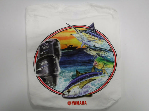 New Yamaha Short Sleeve T-shirt w/ Front Pocket w/ Yamaha Logo White with Motor and Fish Logo Large