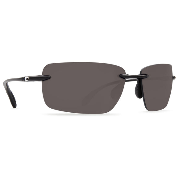 New Authentic Costa Gulf Shore Polarized Sunglasses Shiny Black Frame Gray Lens 580P