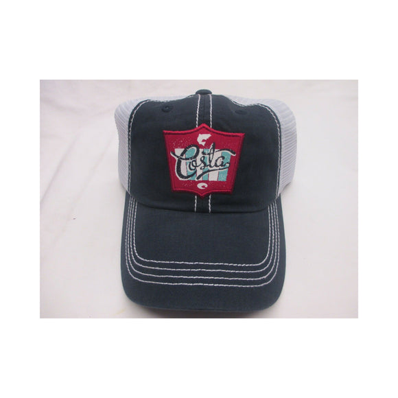 New Authentic Costa Trucker Hat Adjustable Navy with Rodeo Patch Logo White Mesh