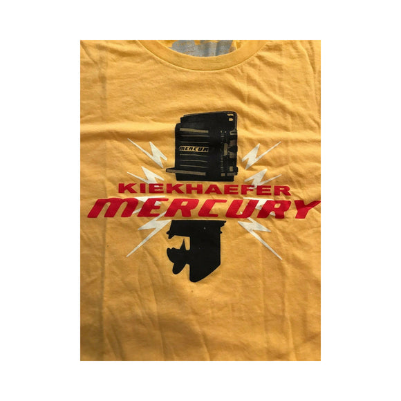 New Authentic Mercury Marine Short Sleeve Shirt Phantom Yellow Kiekhaefer Motor XL