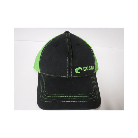 New Authentic Costa Hat Adjustable Trucker/ Black with Green Logo/ Back Neon Green Mesh