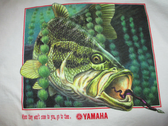 New Yamaha Short Sleeve T-shirt White w/ Front Pocket w/ Yamaha Logo/ Back Bass Fish Large