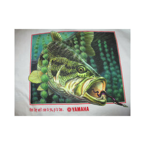 New Yamaha Short Sleeve T-shirt White w/ Front Pocket w/ Yamaha Logo/ Back Bass Fish Medium