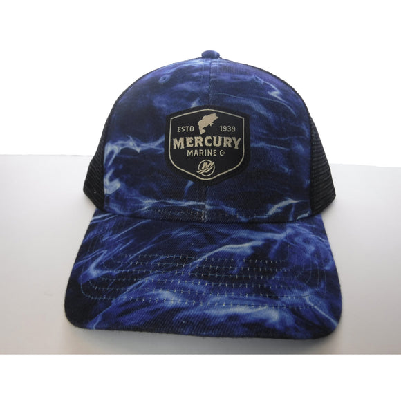 Authentic Mercury Marine Hat Adjustable Elements Blue/ Black Mesh