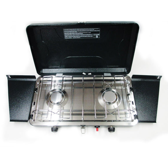Cabin Creek Two Burner Propane Camp Stove/ Piezo Lighter/ Stainless Steel Drip Pan