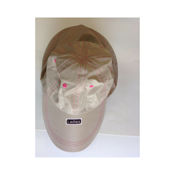 New Authentic Outdoor Guide Ladies Cap Khaki with Pink Stitching/ Drawstring Sunblock