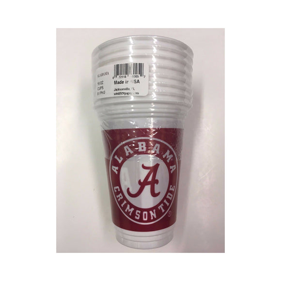 New Officially Licensed Alabama 16oz/ 8 Pack Beverage Cups White/ Crimson 1 Side Univ. AL/ 2nd Side Crimson Tide