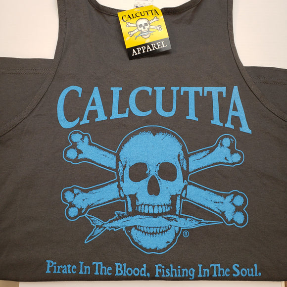 New Authentic Calcutta Tank Charcoal/ Front Small Blue Logo XLarge