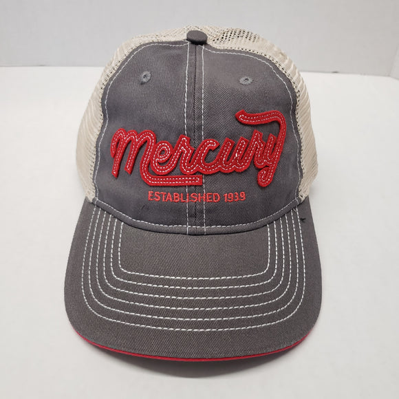 Authentic Mercury Marine Hat Gray/ Tan Mesh