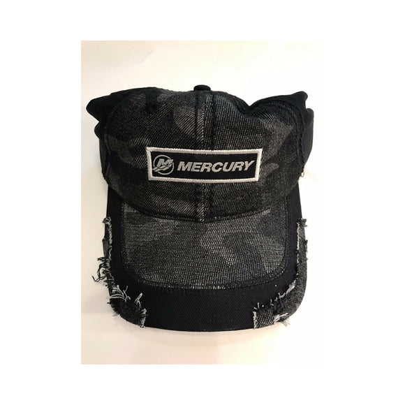 Authentic Mercury Marine Hat Frayed Black and Gray Camo
