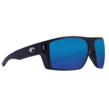 Matte Black Frame Blue Mirror Glass Lens