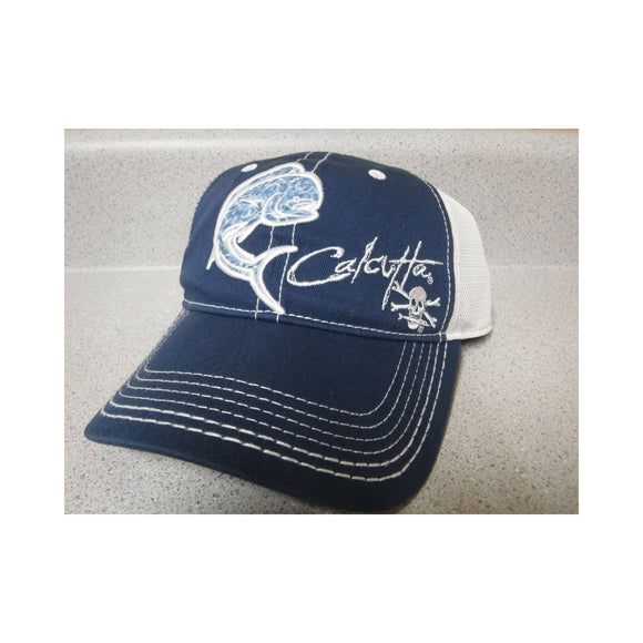 New Authentic Calcutta Hat Blue Front with Dolphin/ White Mesh Back