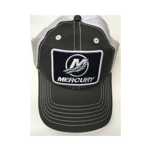 Authentic Mercury Marine Hat Charcoal/ Black Tide Patch/ White Mesh