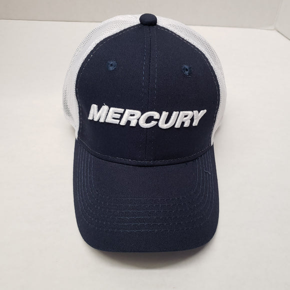 Authentic Mercury Marine Hat Adjustable Navy/ White Mesh and Logo