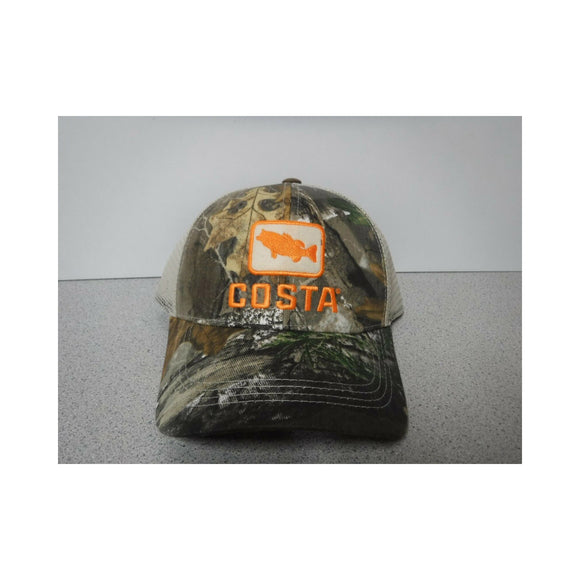 New Authentic Costa Hat Adjustable Trucker/ Realtree Camo/ Bass Logo