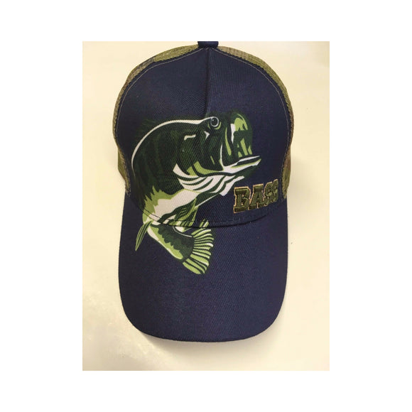 New 3 Oaks Hat Adjustable Navy/ Bass Logo/ Camo Mesh Back