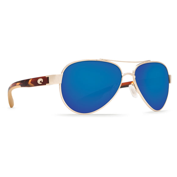 New Authentic Costa Loreto Sunglasses Rose Gold w/Tortoise Arms/ Polarized Blue Mirror Lens 580P