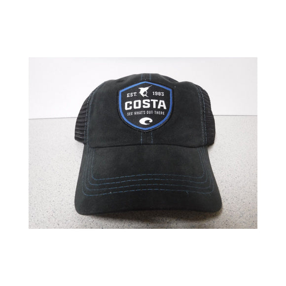 New Authentic Costa Hat Adjustable Trucker/ Black with Shield Logo/ Back Black Mesh