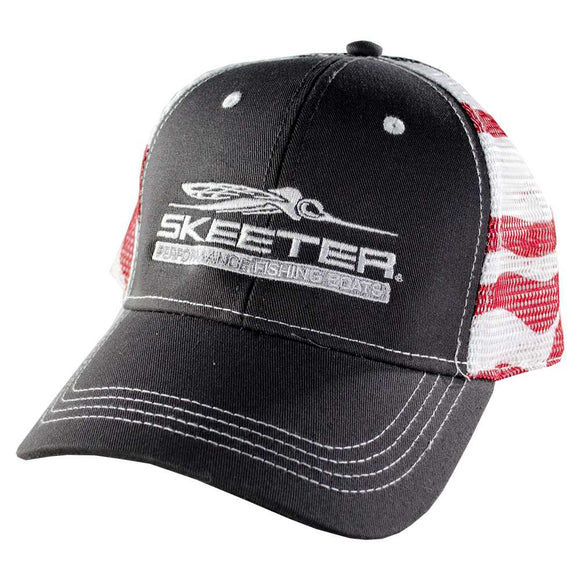 New Authentic Skeeter Richardson Hat  Gray/ Back American Flag Mesh