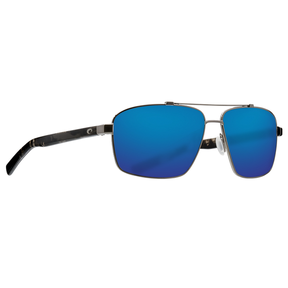 New Authentic Costa Flagler Polarized Sunglasses Brushed Gunmetal Frame Blue Mirror Glass Lens