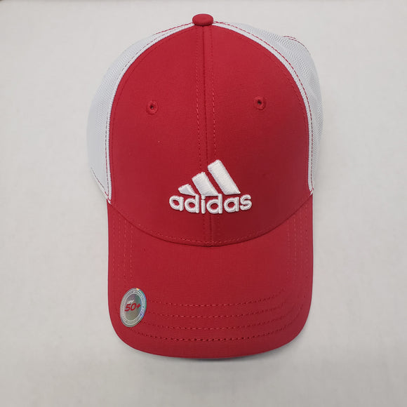 Adidas Flyer 4.0 Golf Hat W/ Contrast Stitching/ Lightweight/ Adjustable Red/ White