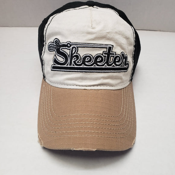 New Authenic Skeeter Hat Richardson Hat White/ Tan Bill/ Back Black/ Rip-Stop Washed Frayed
