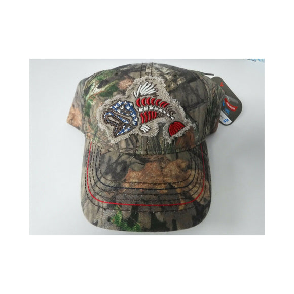 New Authentic Mossy Oak Hat Green Tree Camo/ Red, White & Blue Fish Bones