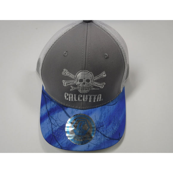 New Authentic Calcutta Hat Gray/ Blue Bill/ White Logo and Mesh