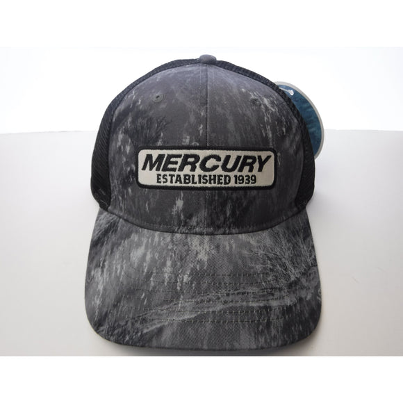 Authentic Mercury Marine Hat Elements Gray/ Black Mesh
