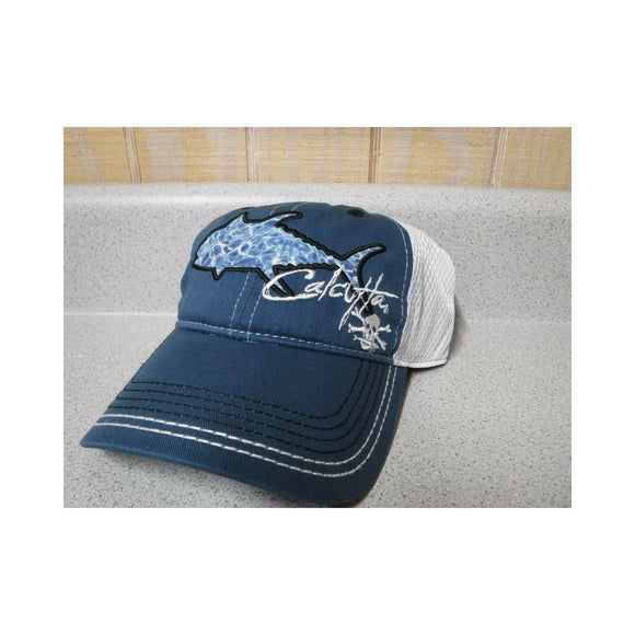 New Authentic Calcutta Low Profile Hat Blue with Watermark Tuna White Mesh