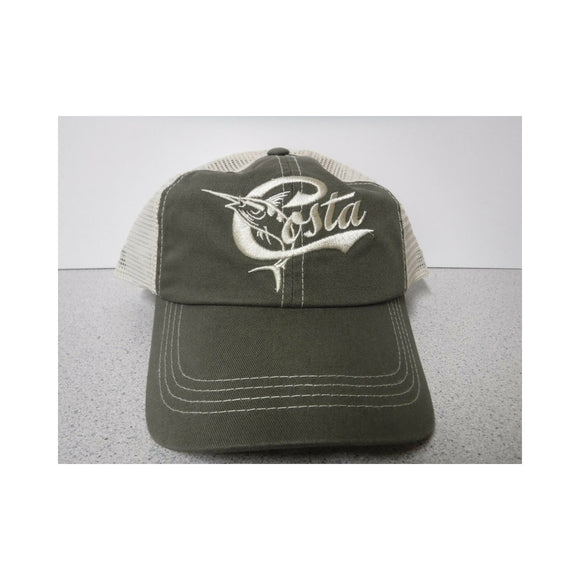 New Authentic Costa Hat Adjustable Retro/ Moss Stone with White Retro Logo/ Back White Mesh