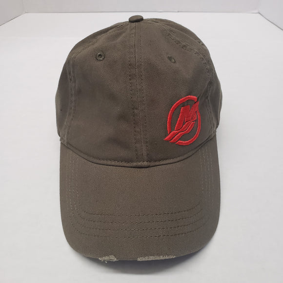 Authentic Mercury Marine Hat Adjustable Combat/Army Green/ Red Logo