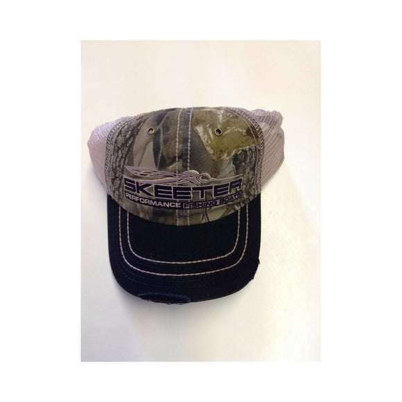 New Authentic Skeeter Distressed Hat Camo Black Bill Pink Mesh
