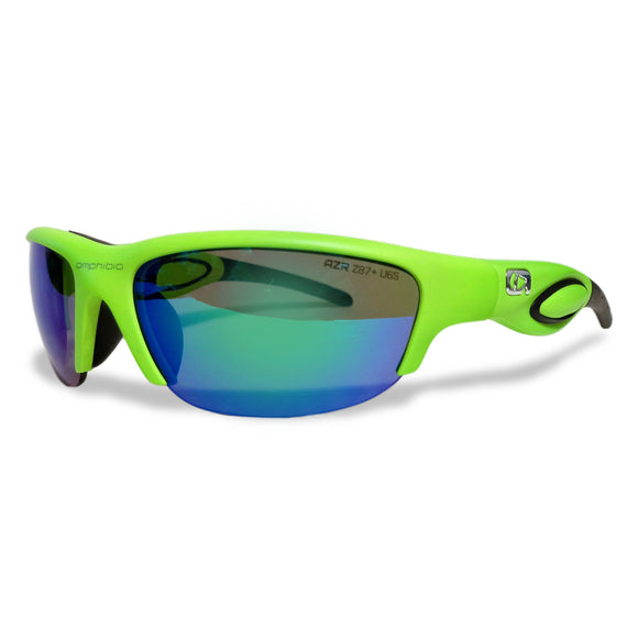 Neon Green Frame with ANSI Rated Blue Storm Lens