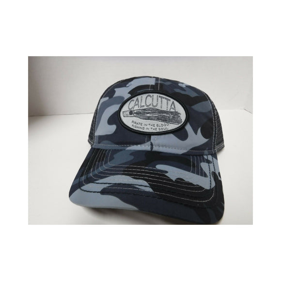 New Authentic Calcutta Hat Blue Camo with Lure Patch/ Black Mesh