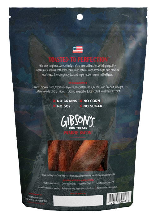 GIBSON'S PRAIRIE BACON WITH BISON - JERKY DOG TREATS