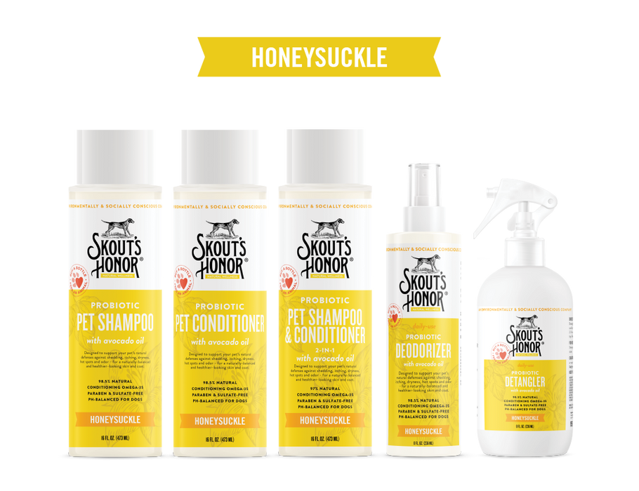 Skout's Honor Honeysuckle Probiotic Shampoos & Conditioners with Avocado Oil for Pets