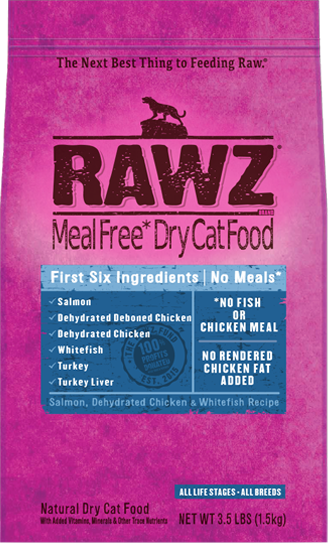 Rawz Salmon, Chicken and Whitefish Meal Free for Cats