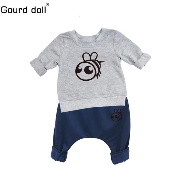 15c9e2cdc5d ... Gourd doll Baby Boy Girl Clothes Spring Baby Clothing Sets Cartoon  Printing Sweatshirts+Casual Pants ...